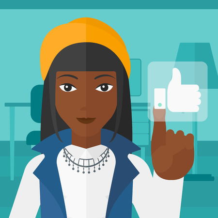 An african-american woman pressing like button on the background of apartment vector flat design illustration. Square layout.