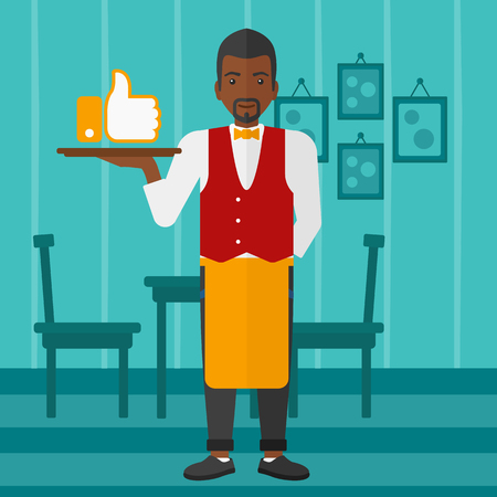 like button: An african-american waiter carrying a tray with like button on a cafe background vector flat design illustration. Square layout.