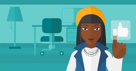 An african-american woman pressing like button on the background of apartment vector flat design illustration. Horizontal layout.