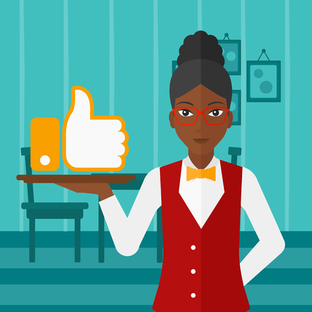 like button: An african-american waitress carrying a tray with like button on a cafe background vector flat design illustration. Square layout.