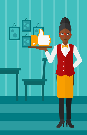 like button: An african-american waitress carrying a tray with like button on a cafe background vector flat design illustration. Vertical layout.