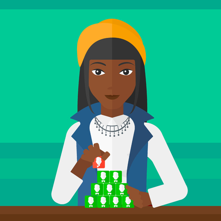 An african-american woman making pyramid of avatars on a light green background vector flat design illustration. Square layout.