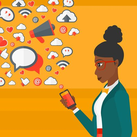 smart phone woman: An african-american woman using smartphone with lots of social media application icons flying out vector flat design illustration isolated on yellow background. Square layout.