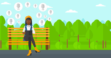 An african-american woman sitting on a bench in the park and holding a tablet computer with many avatar icons above vector flat design illustration. Horizontal layout.