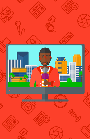 television set: Television set broadcasting the news with an african-american reporter with the beard vector flat design illustration isolated on red background with media icons. Vertical layout.
