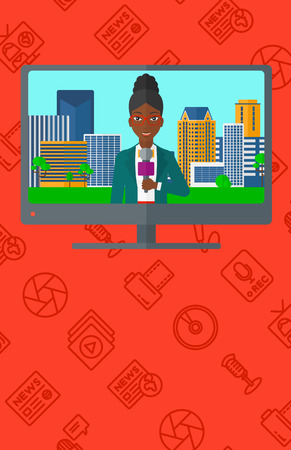 television set: Television set broadcasting the news with an african-american reporter vector flat design illustration isolated on red background with media icons. Vertical layout. Illustration