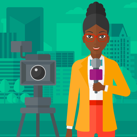 filming: A camera filming and an african-american reporter standing with a microphone on a city background vector flat design illustration. Square layout.