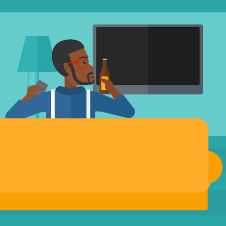 An african-american man sitting on the couch in living room and watching tv with remote controller in one hand and a bottle in another vector flat design illustration. Square layout.