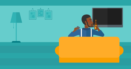 lcd tv: An african-american man sitting on the couch in living room and watching tv with remote controller in one hand and a bottle in another vector flat design illustration. Horizontal layout.