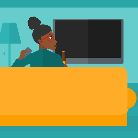 An african-american woman sitting on the couch in living room and watching tv with remote controller in one hand and a bottle in another vector flat design illustration. Square layout.