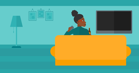 An african-american woman sitting on the couch in living room and watching tv with remote controller in one hand and a bottle in another vector flat design illustration. Horizontal layout. Illustration