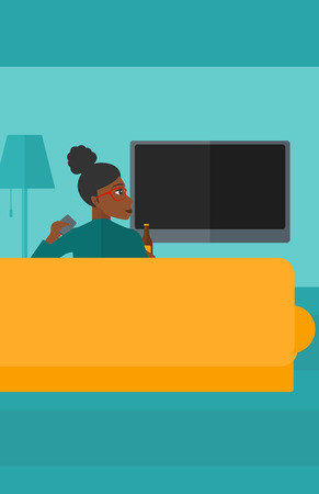 An african-american woman sitting on the couch in living room and watching tv with remote controller in one hand and a bottle in another vector flat design illustration. Vertical layout.