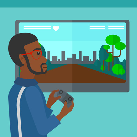 playing video game: An african-american man playing video game with gamepad in hands vector flat design illustration. Square layout.