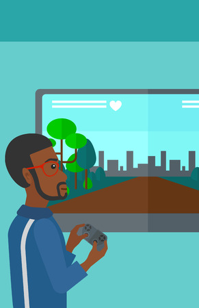 playing video game: An african-american man playing video game with gamepad in hands vector flat design illustration. Vertical layout.