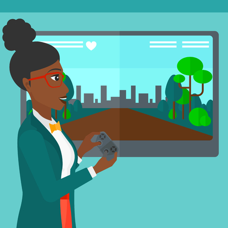 playing video game: An african-american woman playing video game with gamepad in hands vector flat design illustration. Square layout. Illustration