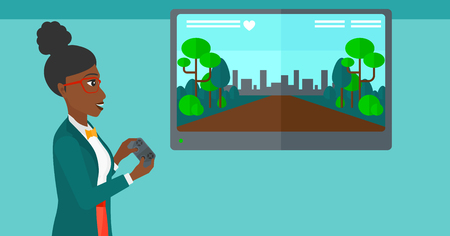 playstation: An african-american woman playing video game with gamepad in hands vector flat design illustration. Horizontal layout.