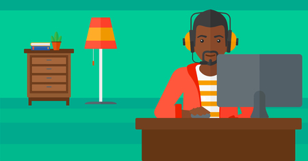 communication cartoon: An african-american man in headphones sitting in front of computer monitor with mouse in hand on living room background vector flat design illustration. Horizontal layout.
