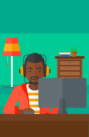 An african-american man in headphones sitting in front of computer monitor with mouse in hand on living room background vector flat design illustration. Vertical layout.