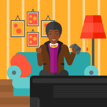 pad: An african-american man with gamepad in hands sitting on a sofa in living room vector flat design illustration. Square layout. Illustration