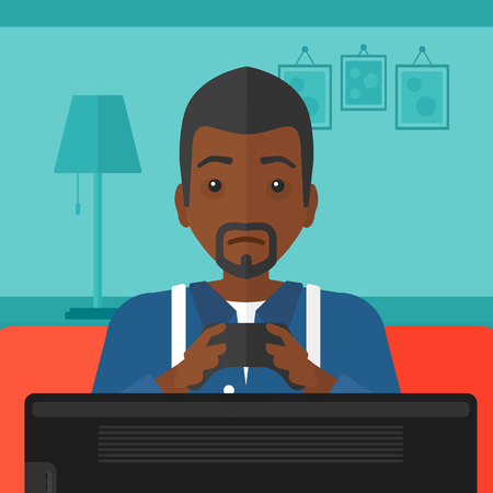 living room design: An african-american man sitting on a sofa with gamepad in hands on a living room background vector flat design illustration. Square layout. Illustration