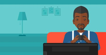 An african-american man sitting on a sofa with gamepad in hands on a living room background vector flat design illustration. Horizontal layout.