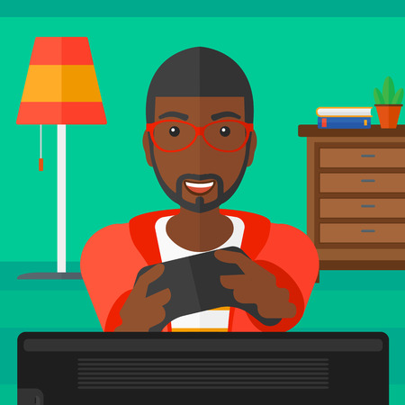 An african-american man with gamepad in hands on a living room background vector flat design illustration. Square layout.