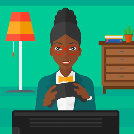 An african-american woman with gamepad in hands on a living room background vector flat design illustration. Square layout.