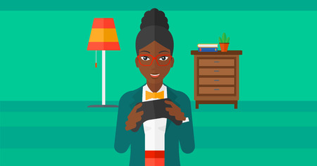 An african-american woman with gamepad in hands on a living room background vector flat design illustration. Horizontal layout.