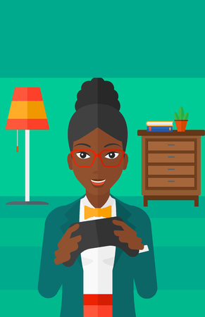 An african-american woman with gamepad in hands on a living room background vector flat design illustration. Vertical layout.