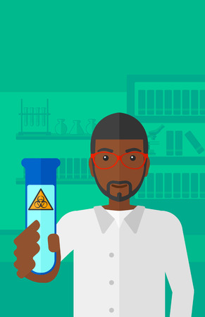 science background: An african-american laboratory assistant holding a test tube with biohazard sign on a laboratory background vector flat design illustration. Vertical layout. Illustration