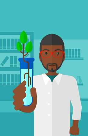 engineering and technology: An african-american laboratory assistant holding a test tube with growing plant on a laboratory background vector flat design illustration. Vertical layout. Illustration