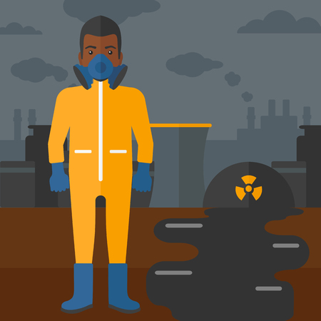 air pollution cartoon: An african-american man wearing a protective chemical suit for toxic atmosphere on background of nuclear power plant vector flat design illustration. Square layout.