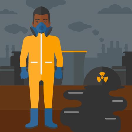 Un hombre afroamericano que llevaba un traje de protección química de la atmósfera tóxica en el fondo de la energía nuclear de la planta de vector diseño plano. de planta cuadrada.