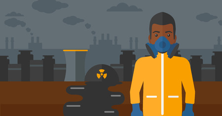 air pollution cartoon: An african-american man wearing a protective chemical suit for toxic atmosphere on background of nuclear power plant vector flat design illustration. Horizontal layout.