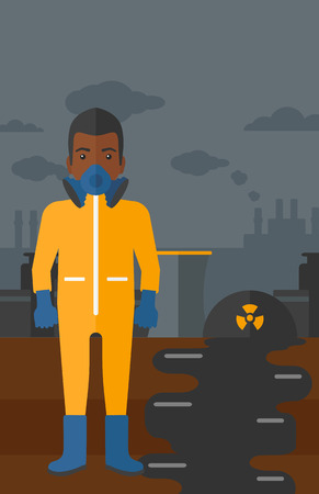 radiation suit: An african-american man wearing a protective chemical suit for toxic atmosphere on background of nuclear power plant vector flat design illustration. Vertical layout.