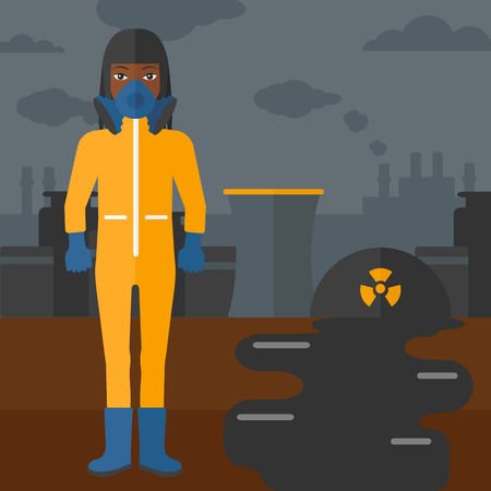 radiation suit: An african-american woman wearing a protective chemical suit for toxic atmosphere on background of nuclear power plant vector flat design illustration. Square layout.
