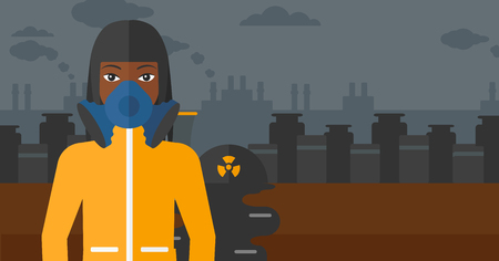 radiation suit: An african-american woman wearing a protective chemical suit for toxic atmosphere on background of nuclear power plant vector flat design illustration. Horizontal layout.