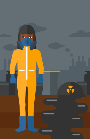atmosphere: An african-american woman wearing a protective chemical suit for toxic atmosphere on background of nuclear power plant vector flat design illustration. Vertical layout.