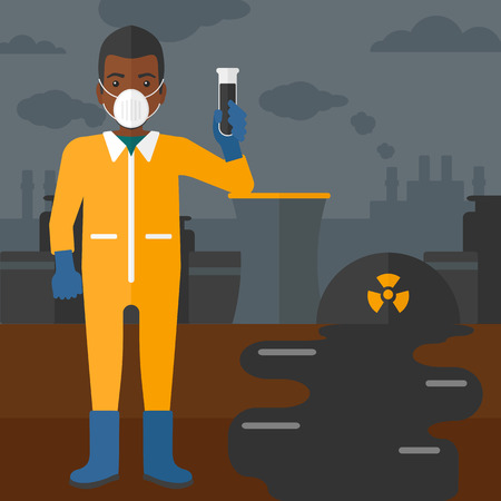 testtube: An african-american laboratory assistant in protective chemical suit holding a test-tube in hand on background of nuclear power plant vector flat design illustration. Square layout. Illustration