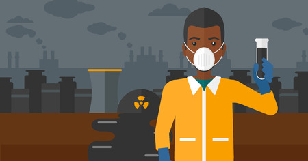 radiation suit: An african-american laboratory assistant in protective chemical suit holding a test-tube in hand on background of nuclear power plant vector flat design illustration. Horizontal layout.