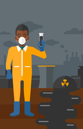 radiation suit: An african-american laboratory assistant in protective chemical suit holding a test-tube in hand on background of nuclear power plant vector flat design illustration. Vertical layout. Illustration