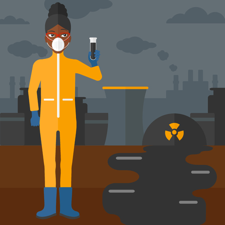 radiation suit: An african-american laboratory assistant in protective chemical suit holding a test-tube in hand on background of nuclear power plant vector flat design illustration. Square layout. Illustration