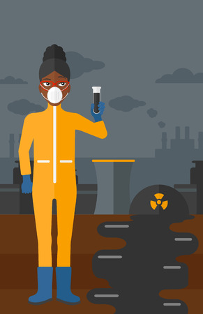 testtube: An african-american laboratory assistant in protective chemical suit holding a test-tube in hand on background of nuclear power plant vector flat design illustration. Vertical layout. Illustration