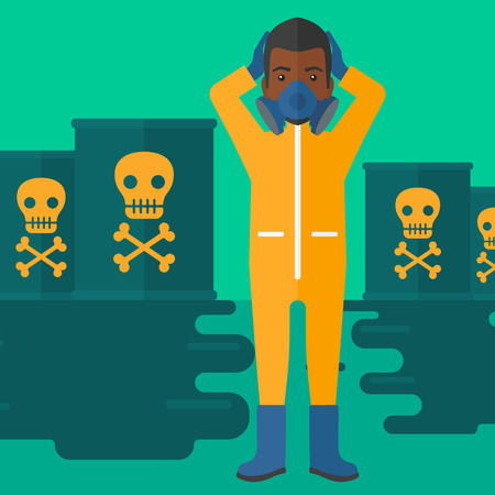 barrel radioactive waste: An african-american man in protective chemical suit clutching his head while standing in polluted water with radioactive barrel vector flat design illustration. Square layout.