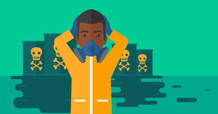 radiation suit: An african-american man in protective chemical suit clutching his head while standing in polluted water with radioactive barrel vector flat design illustration. Horizpntal layout. Illustration