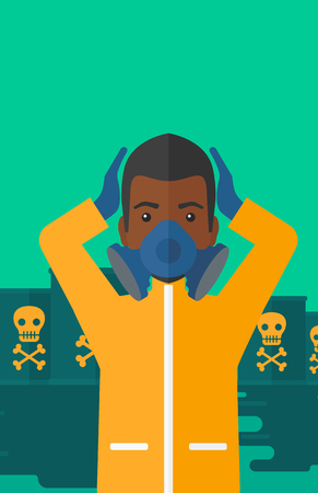 barrel radioactive waste: An african-american man in protective chemical suit clutching his head while standing in polluted water with radioactive barrel vector flat design illustration. Vertical layout.
