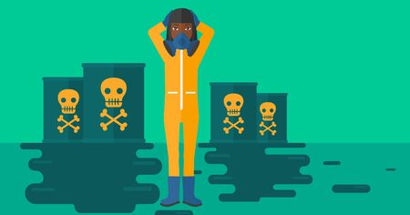 radiation suit: An african-american woman in protective chemical suit clutching her head while standing in polluted water with radioactive barrel vector flat design illustration. Horizontal layout.