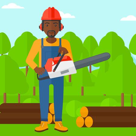 obrero caricatura: Un le�ador africano-americano que sostiene una motosierra en una ilustraci�n de dise�o plano bosque de vectores de fondo. de planta cuadrada.