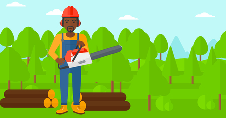 devastation: An african-american lumberjack holding a chainsaw on a forest background vector flat design illustration. Horizontal layout. Illustration