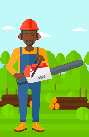 devastation: An african-american lumberjack holding a chainsaw on a forest background vector flat design illustration. Vertical layout.